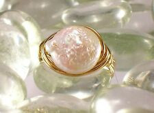 Freshwater Coin Pearl Gold Filled Ring - Any Size!