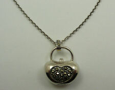 Sterling Silver Marcasite Onyx Purse Pendant Necklace