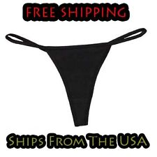 Womens Simple Black 95% Cotton Thong Underwear For Yoga