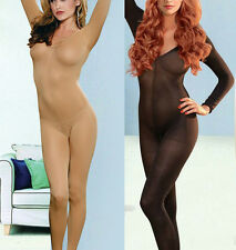 Sexy Lingerie Teddy BODYSTOCKING Flesh-colored Open Crotch Bodysuit Opaque BOXED
