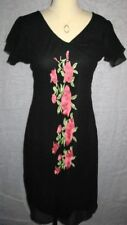 Monsoon Black Chiffon Flower Dress, Sizes 8-16