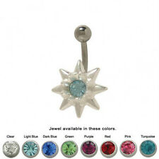 Flower Design Belly Button Ring with Cz Jewel