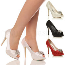 WOMENS LADIES WEDDING EVENING DIAMANTE BROOCH BRIDAL PROM HIGH HEEL SHOES SIZE