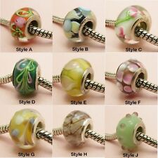 1 Silver Plated MURANO Glass Bead CHARM fits European Bracelet ~ Various Style ~