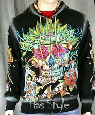 Christian Audigier Men's VIF Sugar Skull Hoodie Black day of the dead New