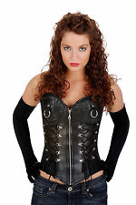 Black Leathther Steel Bone Overbust Corset Scrub Top Zip Lacing Hourglass shape