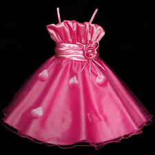Hot Pink Wedding Party Prom Flower Girls Pageant Dress SZ 2-3-4-5-6-8-9-10Y
