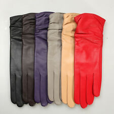 Women GENUINE LEATHER ruffle middle long gloves 6 color