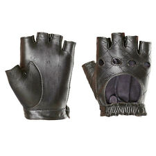 Women Leather PUNK Fingerless motorcycle driving gloves