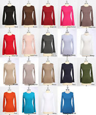BASIC COTTON PLAIN TEE CREW NECK LONG SLEEVE TOP S M L & Various Colors