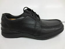 MENS BLACK LEATHER LACE UP SHOE (LINE MAP) IN H FIT