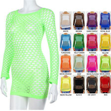 Sexy Long Sleeve Spandex FISHNET TUNIC Top Holes Bikini Cover ONE SIZE