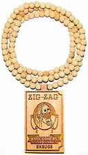 """Papers Necklace All New Good Wood Style Pendant 36"""" Natural Wood Bead Chain"""