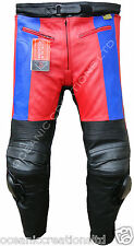 Red & Blue CE Armoured Motorcycle Motorbike 100% Real Cowhide Leather Trousers