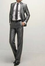 One Button Slim Skinny Fit Shiny Gray Suit 07 (US 42R)