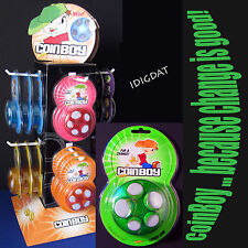 CoinBoy COIN DISPENSER - 11 HOT COLORS! Change Organizer Money Purse Bag Wallet