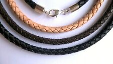 6mm Silver Leather Braided Bolo Necklace Black, Brown, Natural - 1/4 inch