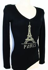 RHINESTONE EIFFEL TOWER PARIS  RIBBED JUNIOR V NECK SHIRT  NEW TOP S M L 3XL USA