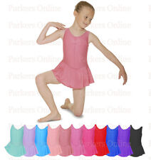 NEW BALLET DANCE LEOTARD WITH ATTATCHED SKIRT FROM 6-10 YEARS PINK BLUE AND MORE