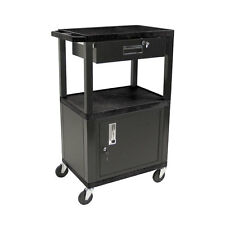 H. Wilson Multipurpose Utility Cart With Cabinet and Drawer Black