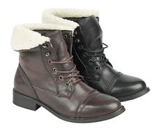 GIRLS SCHOOL BOOTS BIKER MILITARY RIDING ARMY FORMAL WINTER FUR BLACK SHOES SIZE