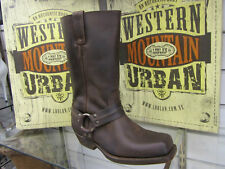 LOBLAN 295 Brown Waxy Leather Mens Biker Boots Classic Cowboy Square Chisel Toe