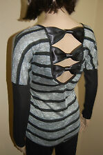 New Striped Glitter Bow Satin Back Layered Sleeves Gorgeous Top~S/M/L~