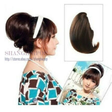 Bun Hair Extensions Clip-on In Women Party Costume Updos Pony Tail Black/Brown