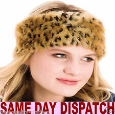LADIES FAUX FUR ANIMAL LEOPARD PRINTED HEADBAND EAR WARMER ONE SIZE