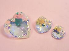 1 x Genuine SWAROVSKI Crystal Heart PENDANT 14mm or 18mm~Clear AB/ VL Purple~