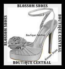DESIGNER SHOES SILVER SATIN PLATFORM SANDALS/HEELS PARTY/EVENING SZ AU 7-11
