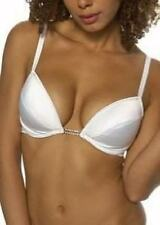 WHITE Low Cut Front Frontless Padded Plunge Bra Various Size