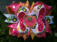 JOHN DEERE RHINESTONE BLING BOTTLECAP HAIRBOW WITH OPTIONS