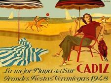 1948 Cadiz Lady Beach Horse Sail boat Fashion Hat Vintage Poster Repo FREE S/H