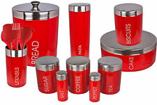 New Red Retro Vintage Stainless Steel & Enamel Kitchen Storage Cannisters Pots