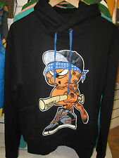 TWO ANGLE MENS MWARF GARFIELD BLACK HOODED PULLOVER HIPHOP TOP