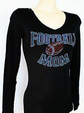 BLUE RHINESTONE FOOTBALL MOM  SHEER JUNIOR V NECK SHIRT NEW TOP S M L XL 2XL 3XL