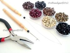 100-200 Silicone Micro Beads Feather Hair Extension TOOL KIT-PLIERS w/LOOP,Hook