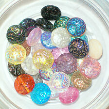 ONE BEAD!!! Czech Pressed Glass Button Bead 13mm Swirl baroque 14mm focal coin B