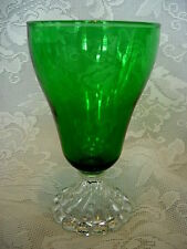 Vintage ANCHOR HOCKING Forest Green Glass Burple Water Goblet - MORE AVAILABLE
