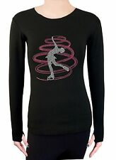 Figure Ice Skating Stretch Long Sleeve Shirt  With Rhinestone TR257 Rose Pink