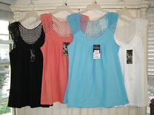 AVA & GRACE Crocheted Back - Sleeveless  Tops- SEXY -several colors/sizes- NWT!