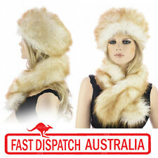 Ladies Russian Trooper Hat Faux Fox Wolf Fur Animal Hat and Scarf  Collar Set