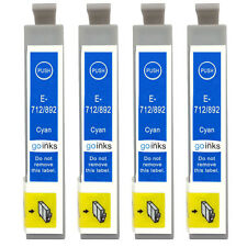 4 Cyan Ink Cartridges non-OEM to replace T0712 (T0892) Compatible for Printers