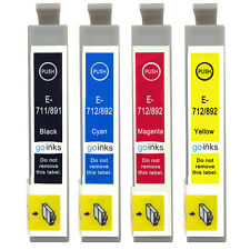 4 Ink Cartridges non-OEM to replace T0711 T0712 T0713 T0714 (T0715) Compatible