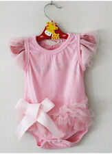 1pc Newborn Baby Girl Princess Bowknot Bodysuit Romper Clothes Outfit Pink 0-18M