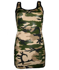 NEW ARMY CAMOUFLAGE CAMO LONG VEST TANK TOP FANCY DRESS COSTUME SIZE 8-22