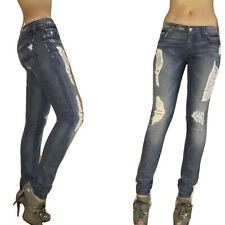 $225 Seven 7 For All Mankind Roxanne Skinny Jeans Peekaboo Patch Destroyed 24 25