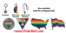 Gay Pride Rainbow Pewter as Necklace, Key Ring, Magnet or Pin NWT Made in USA