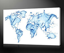 WORLD MAP BLUE WATER SPLASH CONTEMPORARY CANVAS PRINT MANY SIZES AVAILABLE